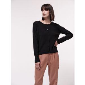 Damen Strickjacke kurz aus Virgin Wolle black