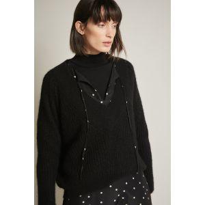 Lanius Pullover mit V-Ausschnitt black