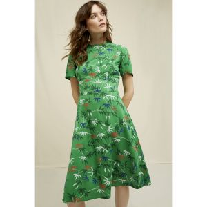 People Tree V&BA Bamboo Print Obi Dress green multi