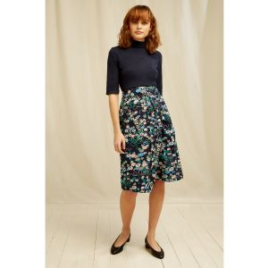 People Tree V&A Floral Print Skirt Navy